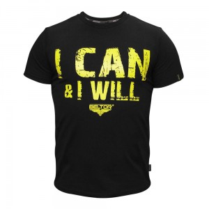 "T-shirt Slim ""I CAN & I WILL"" kolor czarny Beltor®"