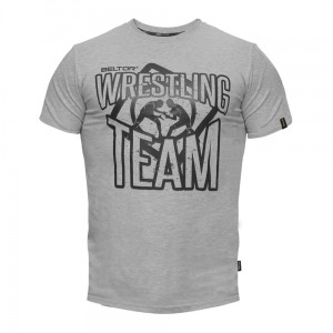 "T-shirt Slim ""WRESTLING TEAM 01"" kolor szary Beltor®"
