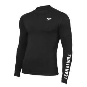 Rashguard męski Long Sleeve WORKOUT 01 czarny - Beltor